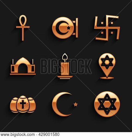 Set Burning Candle, Star Crescent, Of David, Easter Egg, Hindu Spiritual Temple, Swastika And Cross