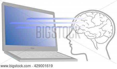 Teleworking Effects On Brain's Activity, Vector Illustration
