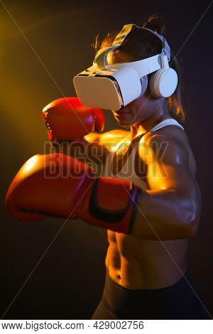 Medium Close Up Shot Of Asian Woman Wearing Vr Headset To Exercise With Simulation Boxing Games, You