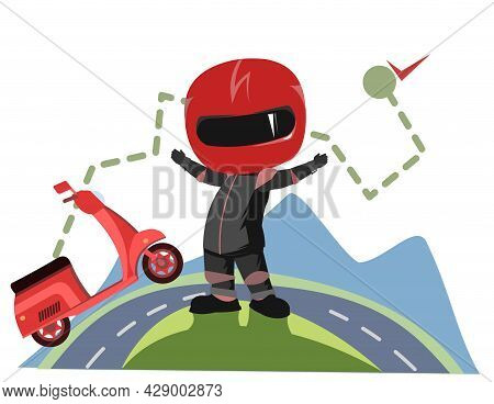 Scooter Driver. Biker Cartoon. Child Illustration. Finish. In A Sports Uniform And A Red Helmet. Coo