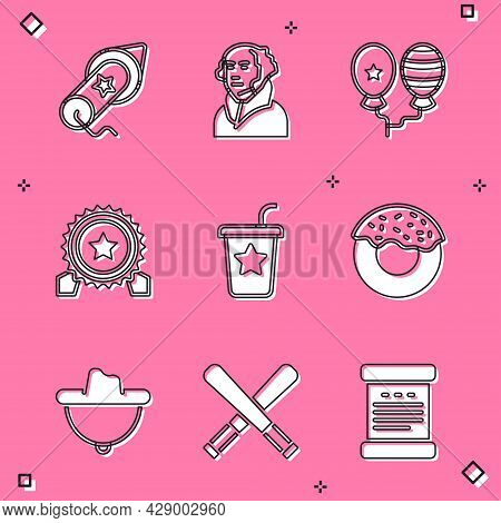 Set Firework, George Washington, Balloons, Medal With Star, Paper Glass Straw, Donut, Western Cowboy