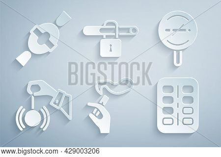 Set Hand With Smoking Cigarette, No, Hypnosis, Nicotine Gum Blister Pack, And Candy Icon. Vector