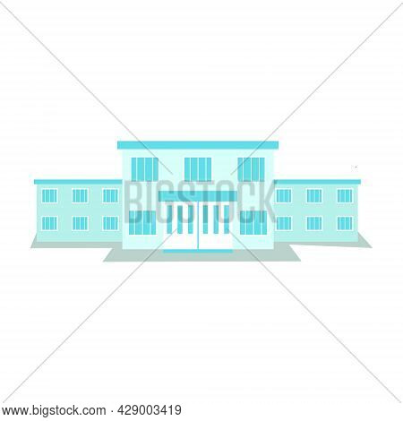 Illustration Of A Two-story Building Resembling A Hospital. Vector Object In Flat Style