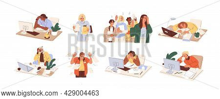 Set Of Busy People In Stress And Fatigue At Work. Employees Overloaded With Business Tasks. Office W