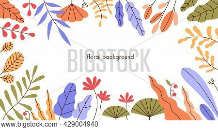 Floral Background With Leaf Frame. Horizontal Banner With Modern Botanical Border Art Of Abstract Si