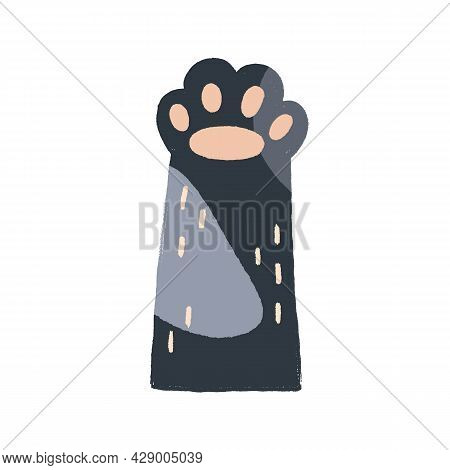 Cute Cat Paw With Soft Gentle Pads In Doodle Style. Adorable Kitty Hand Raised Up, Gesturing Hi. Fun