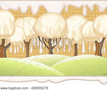 Fabulous Sweet Forest. Ice Cream, Drips Of White Milk Cream. Trees With Chocolate Trunks. Cute Hilly