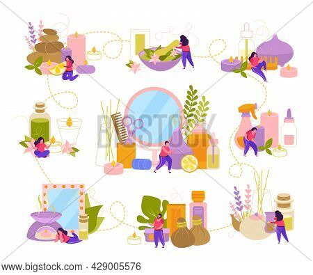 Aromatherapy Flat Infographics With Essential Oil Bottles Candles Wildflowers And Element Of Stone T