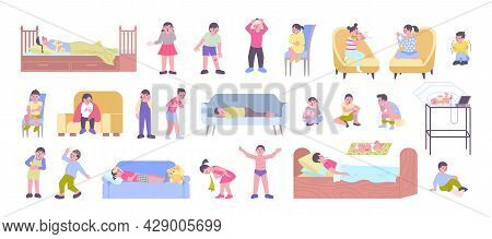 Ill Children Flat Icons Set With Boys Girls Babies Feeling Sick Having Fever Toothache Rash Cough Br
