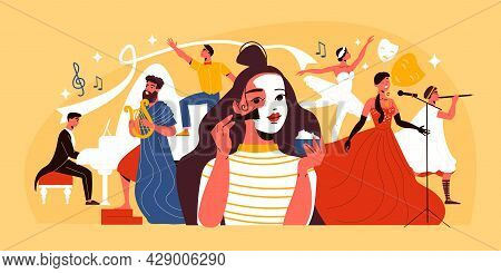 Theatre Actress Applying Theatrical Makeup Musicians Dancers And Singers On Yellow Background Flat V