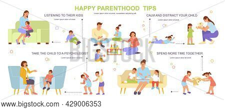 Parenting Flat Flowchart With Happy Parenthood Tips Parents And Their Children Spending Time Togethe