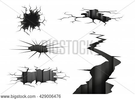 Ground Cracks Realistic Set Of Isolated Monochrome Images With Earth Rifts Of Different Shape And Si