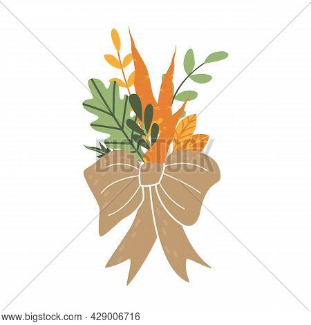 Original Bouquet Of Ripe Carrots And Autumn Fallen Leaves. Festive Decoration For The Harvest Day. C