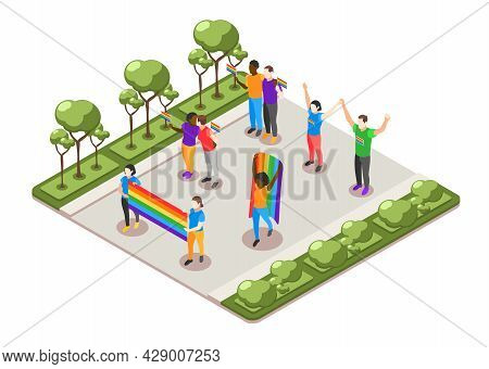 International Day Against Homophobia Isometric Composition With Lgbt People Participating In Pride P