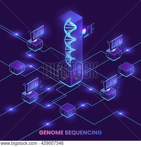 Genetic Engineering Isometric Composition With Genome Research Symbols Vector Illustration