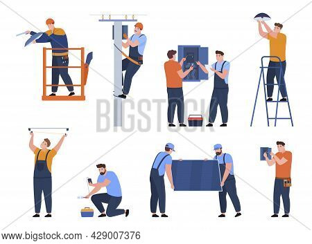 Collection Electrician At Work Vector. Set Professional Workers With Tools Electrical Facilities