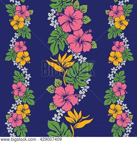 Tropical Floral Hawaiian Pattern Design With Repeat. Hibiscus With Bird Of Paradise And Plumeria Lei