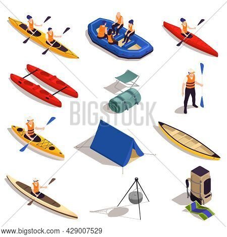 Rafting Kayaking Canoeing Tourism Isometric Set With Raft Boats Vessels Paddles Tent Campfire Tripod