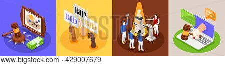 Auction Isometric Composition With Set Of Square Backgrounds Icons Of Gavel Bidders Money And Valuab