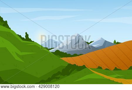 Panorama Of Spring And Summer. Landscape With Majestic Mountains, Hills And Fields. Rural Nature Wit