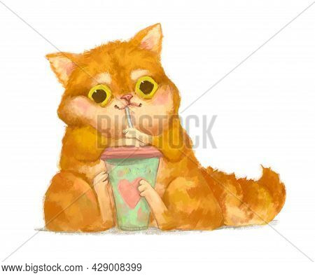 Cute Cartoon Kitten Holding Green Cup With Straw