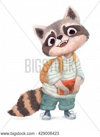Funny Small Racoon Kid With A Book And Backpack
