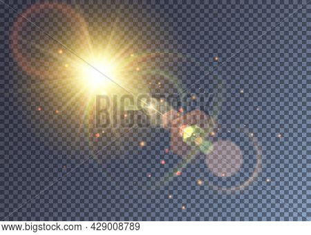 Shining Yellow Vector Sun With Lens Flare