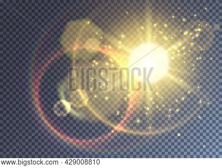 Magical Vector Yellow Sun With Various Flares