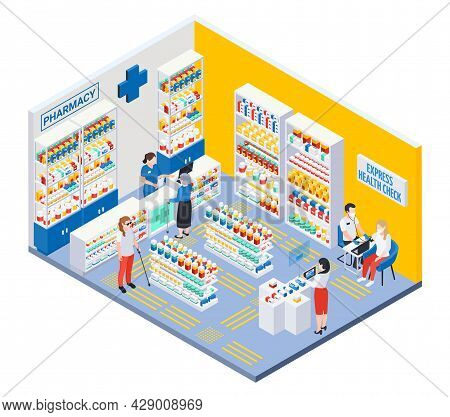 Modern Pharmacy Interior With Showcases Tactile Paving For Blind And Express Health Check Isometric