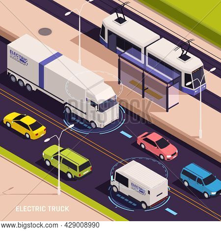 Modern 3d Vision Electric Trucks Delivery Vans Driving On City Roads Charging Wirelessly Isometric V