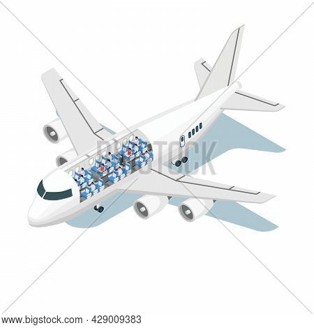 Airplane Scheme Isometric Composition With Isolated Image Of Jet Wit View Of Seats And Passenger Cha