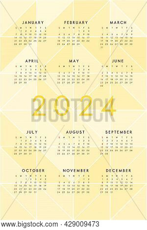 2024 Calendar On Abstract Yellow Background With Translucent Triangles. Calendar Design For Print An