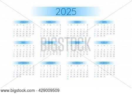 2025 Pocket Calendar Template In Strict Minimalistic Style With Blue Gradient Elements, Horizontal F