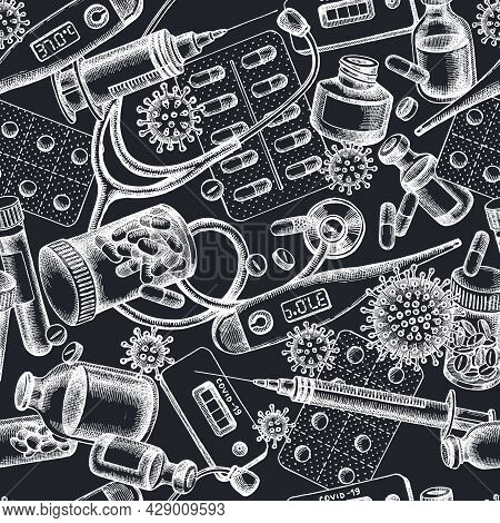 Seamless Pattern With Hand Drawn Chalk Vial Of Blood, Pills And Medicines, Medical Thermometer, Coro