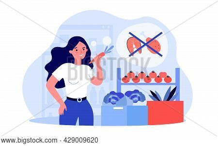 Young Woman Switching To Vegetarian Lifestyle. Flat Vector Illustration. Girl Choosing Vegetables An