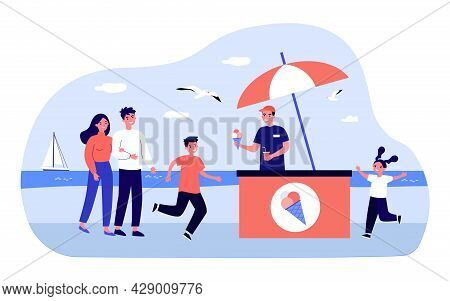 Young Vendor Selling Ice Cream On Beach. Flat Vector Illustration. Happy Children Running Up To Get