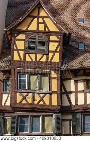 Colmar, France, June 26, 2021 : Old Haf Timbered House. City Has A Rich Architectural Heritage, Incl