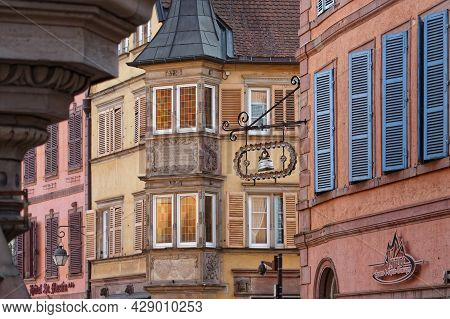 Colmar, France, June 26, 2021 : Sign For Store On Old Walls. City Has A Rich Architectural Heritage,