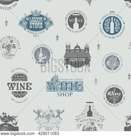 Seamless Pattern With Wine Labels, Logos, Emblems, Signs On A Light Backdrop. Vector Background On T