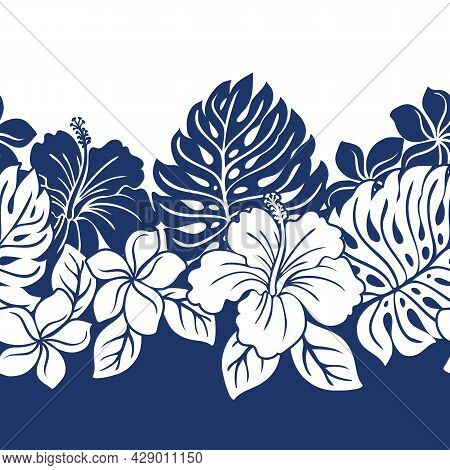Tropical Hawaiian Pattern Border With Repeat Hibiscus And Monstera