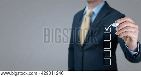 Businessman Making Right Decision. Checklist Concept, Businessman Checking Mark On Check Boxes. Busi