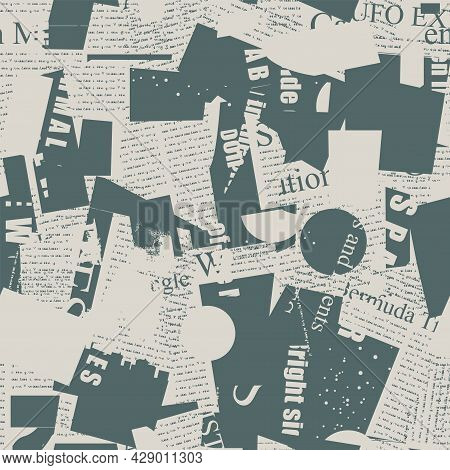 Monochrome Seamless Pattern With Fragments Of Old Newspaper And Magazine Pages. Abstract Vector Back