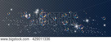 Set Of Realistic Colorful Soap Bubbles To Create A Design. Transparent Realistic Soap Bubbles Isolat
