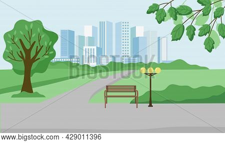 Urban Summer Landscape. A Big City In The Distance, A City Park, Trees, A Bench. A Modern Eco-friend
