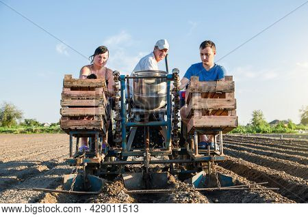 Farmer Workers On A Tractor Plant Potato Seeds. Automation Of Process Of Planting Potatoes Seeds. Hi