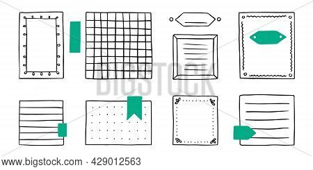 Memo Hand Draw Pad Sheets For Note. Paper, Line, Book, Pencil. Vector Background