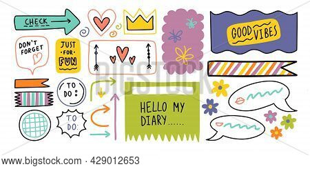 Diary Bullet Cute Journal Border Elements. Note Icon, Sticker For School