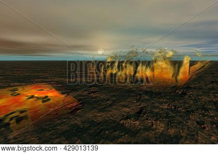 Abstract Scene Fire Over Surreal Ground 3d Rendering