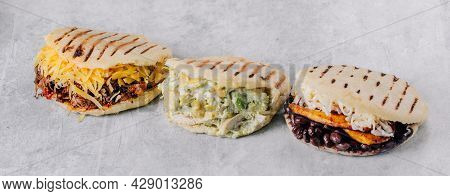 Group Of Vegan Arepas, Ideal For A Balanced Diet. Latin American Food