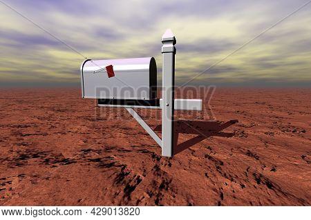 Silver Mailbox In The Brown Desert Surreal Scene 3d Rendering